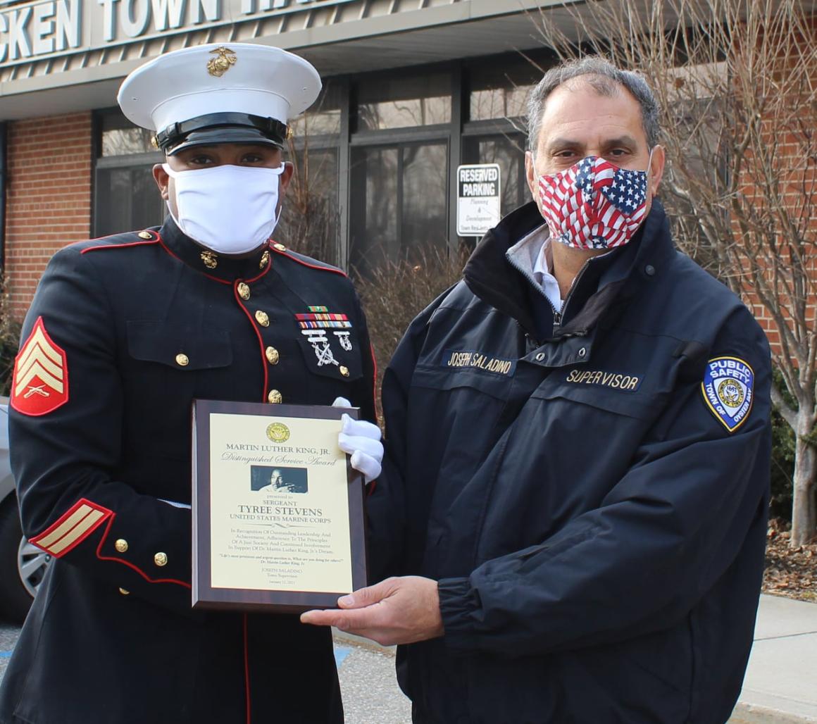 Saladino Presents Martin Luther King Jr. Distinguished Service Award to Local Marine