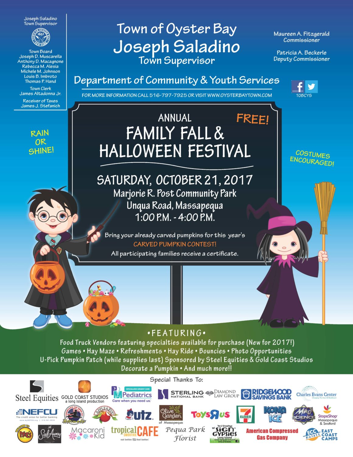Saladino Invites Residents To Free Family Fall & Halloween Festival