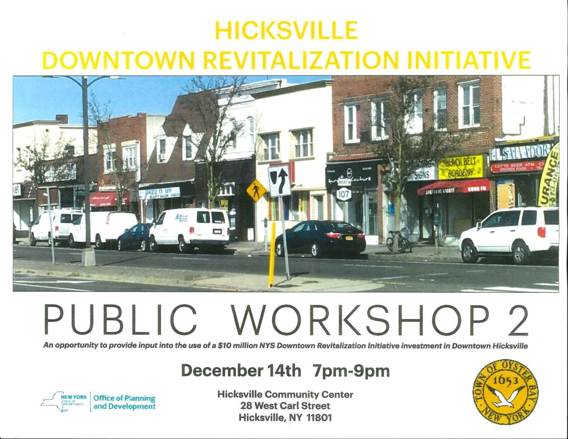 Saladino and Alesia Announce Second Public Workshop For Downtown Hicksville Revitalization Grant