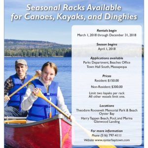Councilman Imbroto Announces the Availability of Racks for Canoes, Kayaks and Dinghies