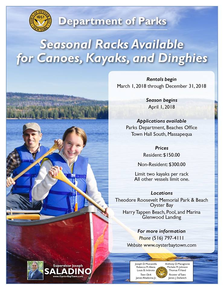 councilman imbroto announces the availability of racks for canoes
