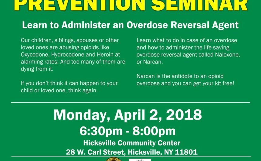 Town Offers Free Overdose Prevention & Narcan Training Seminar on April 2nd