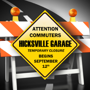 Hicksville Parking Garage to Undergo Repairs Beginning September 12th