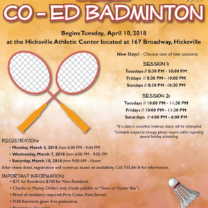 Imbroto Announces Registration for Spring Co-Ed Badminton