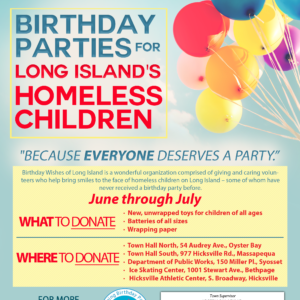 Collection Drive to Support Birthday Parties for LI's Homeless Children