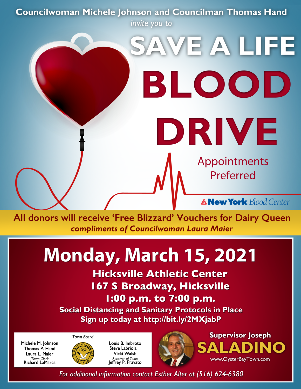 Residents Encouraged to Donate Blood March 15th in Hicksville