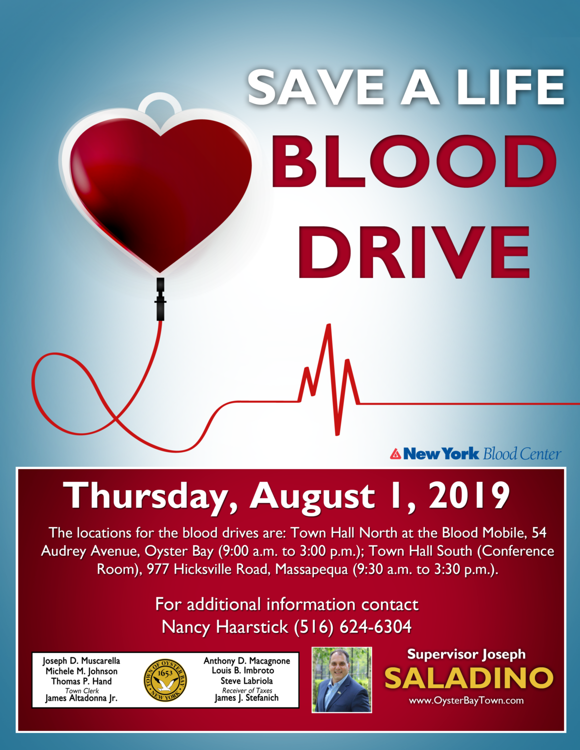 Saladino and Town Board Urge Residents to Help Fulfill Blood Shortage by Donating on August 1st