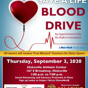 Residents Encouraged to Donate Blood September 3rd in Hicksville