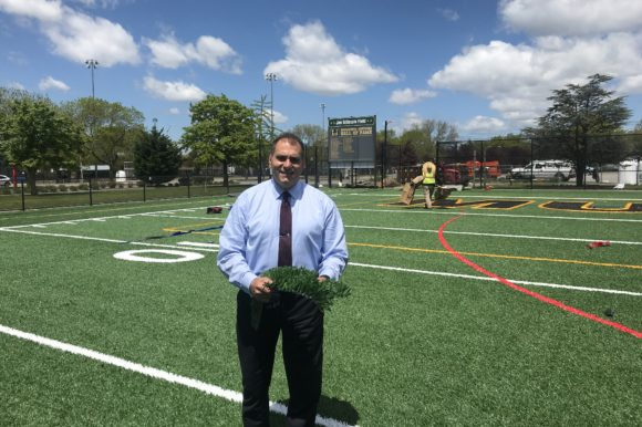 Saladino and Labriola Announce New Turf at Field in John J. Burns Park