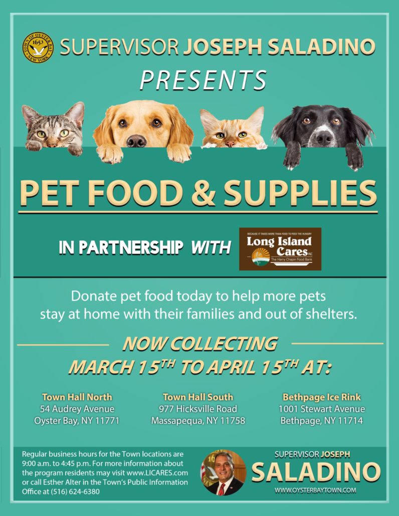 Councilman Hand Launches Pet Food  Supply Drive with LI Cares