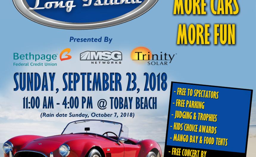 Saladino Announces Car Show Long Island Fall Classic at TOBAY Beach on September 23rd