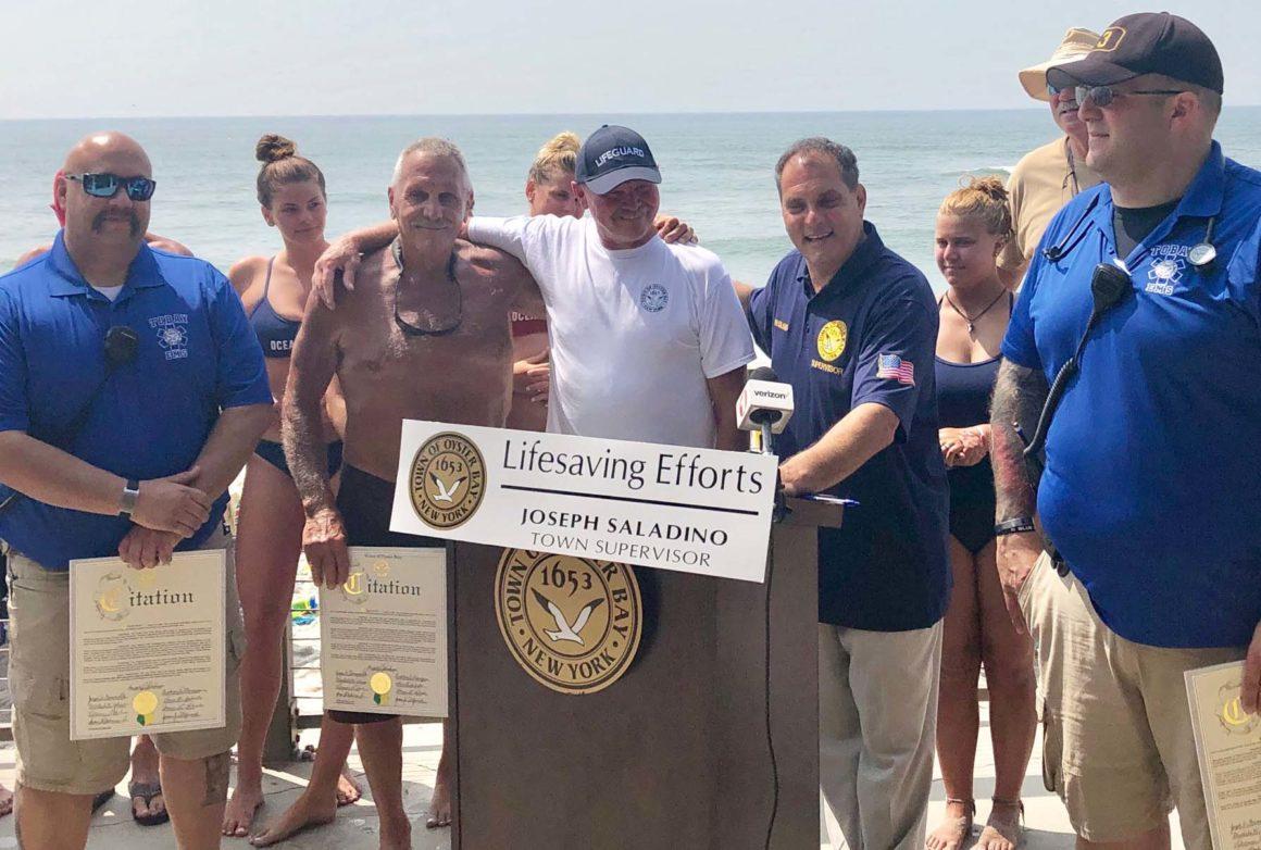 Town Honors TOBAY Lifeguards for Saving Life of Fellow Lifeguard