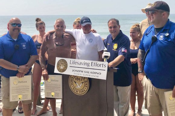 Town Honors TOBAY Lifeguards for Saving Life of Fellow Lifeguard