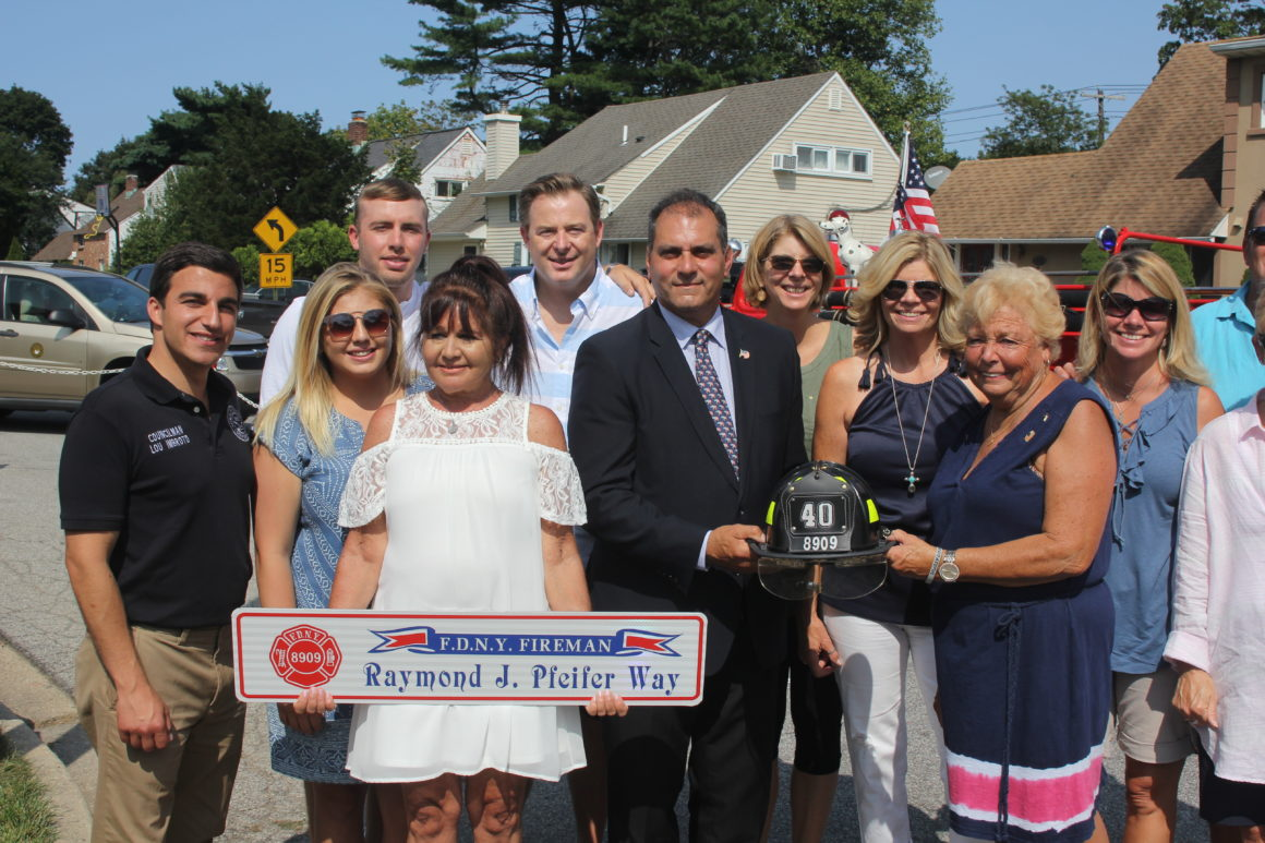 Saladino & Imbroto conduct Hicksville Ceremonial Street Renaming Dedication in Honor of Fallen FDNY Hero Raymond J. Pfeifer