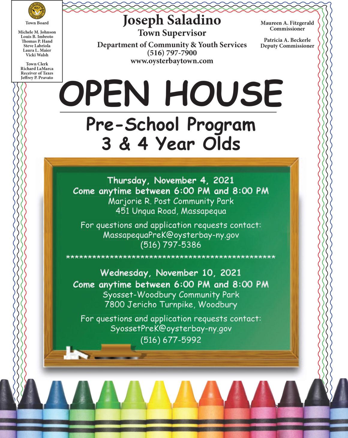 Councilwoman Johnson Announces Open House for Town Pre-School Programs