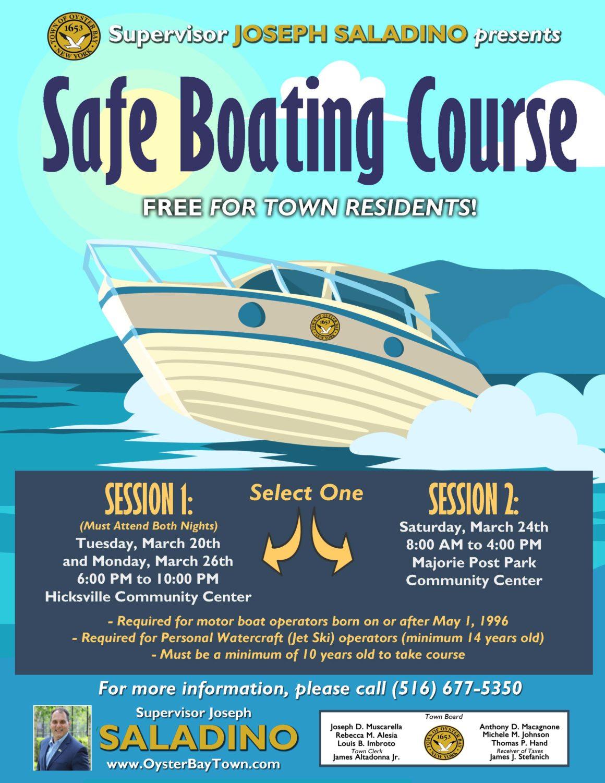 Saladino and Johnson Announce Free  Boating Safety Seminar