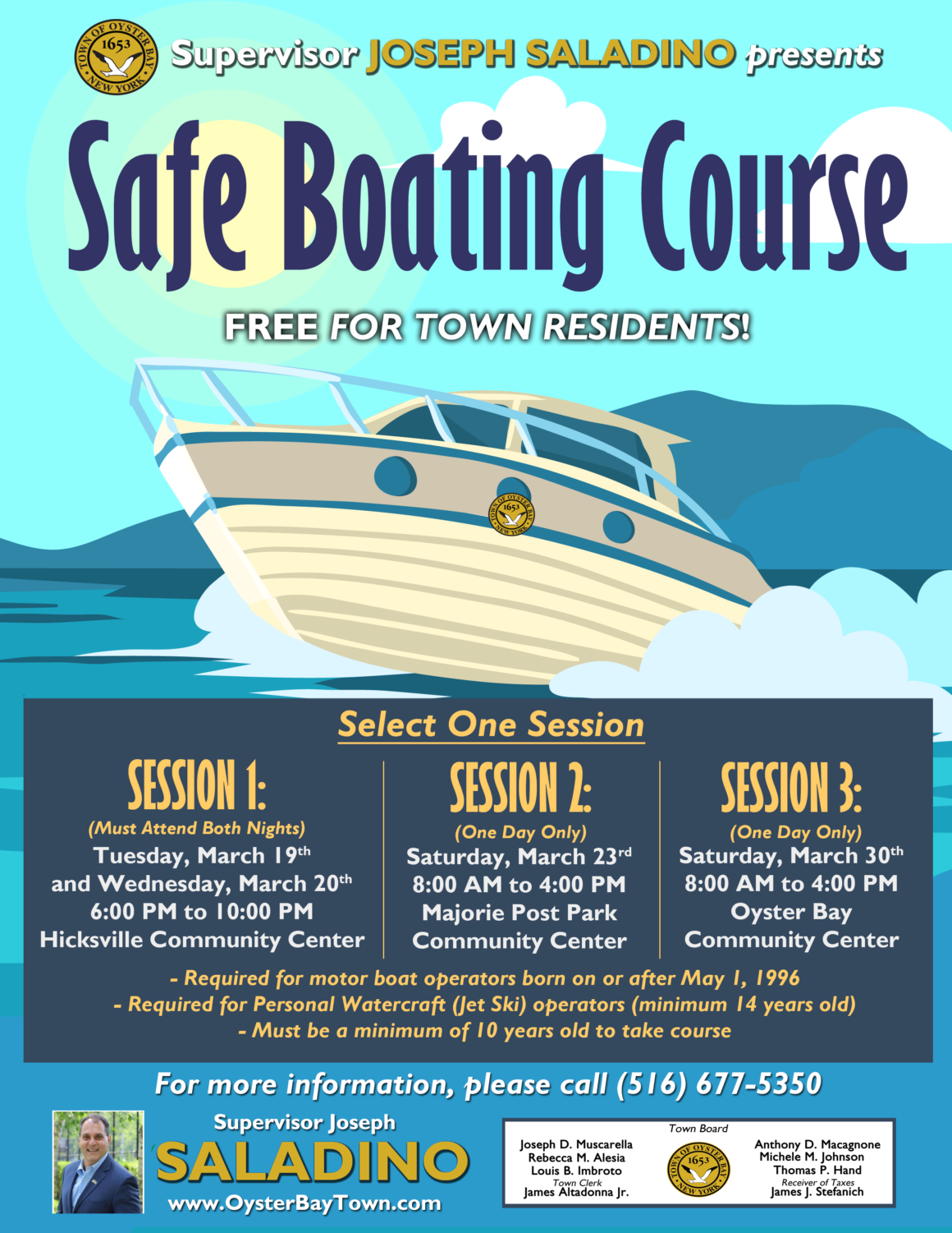 Saladino and Johnson Announce Free Boating Safety Courses
