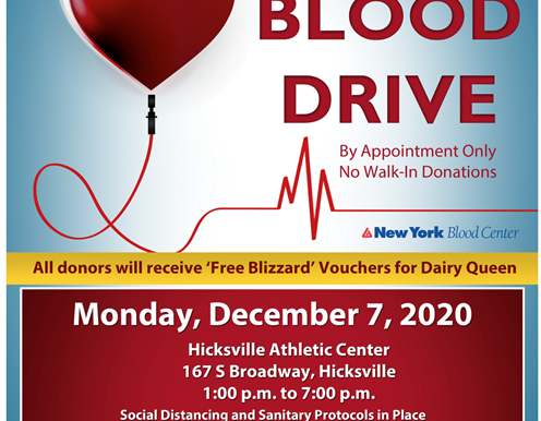 Residents Encouraged to Donate Blood December 7th in Hicksville