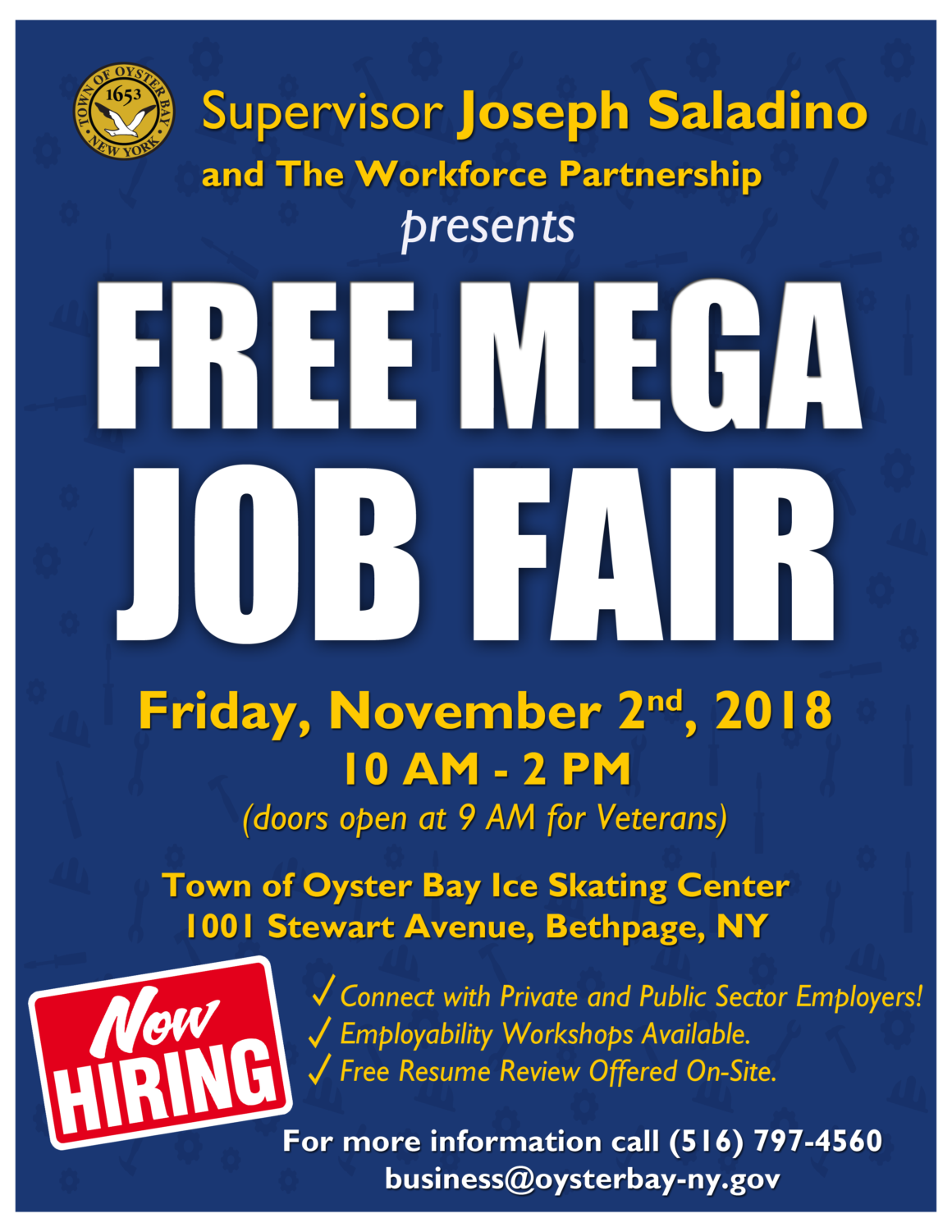 Saladino Announces Mega Job Fair at Town of Oyster Bay Ice Skating Center