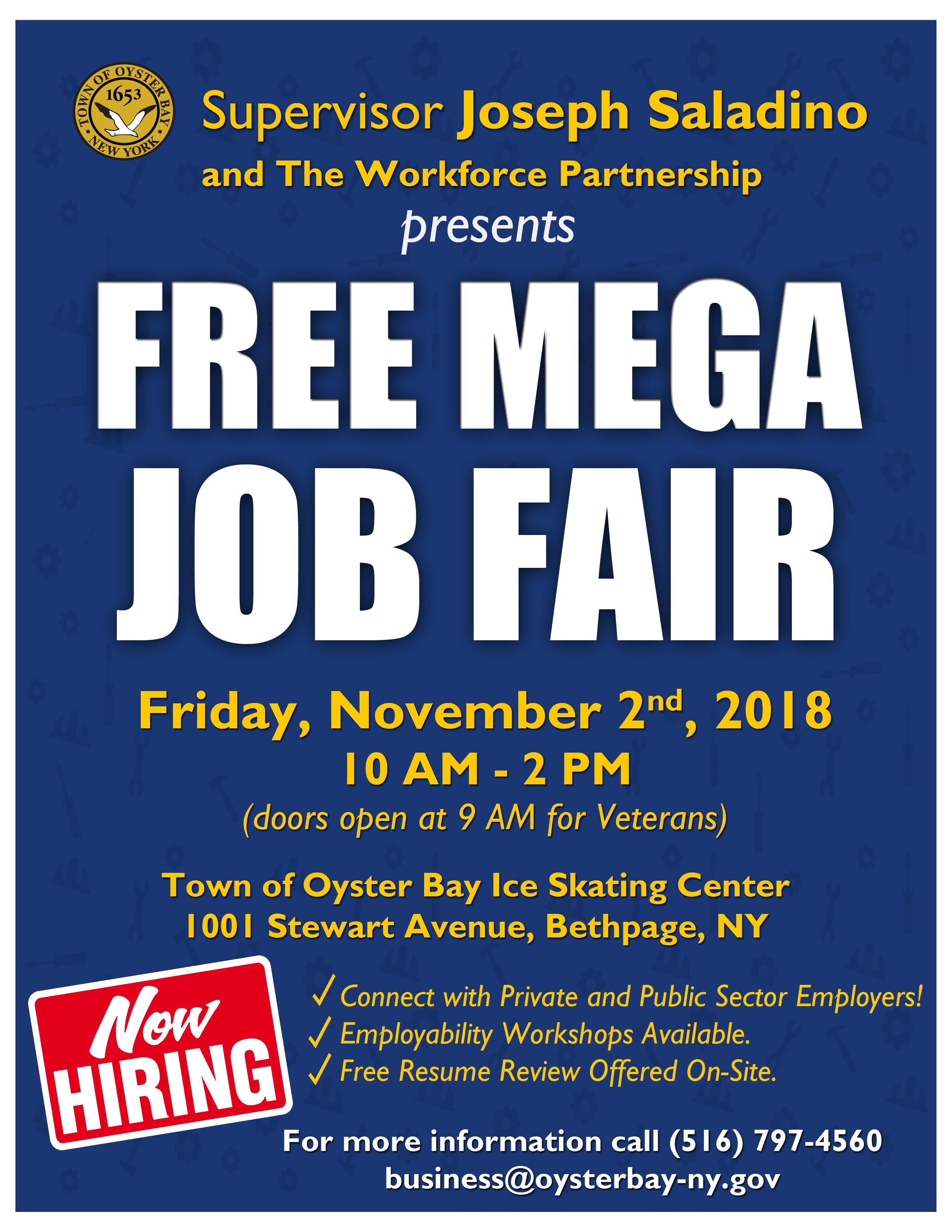 Saladino Announces Mega Job Fair At Town Of Oyster Bay Ice