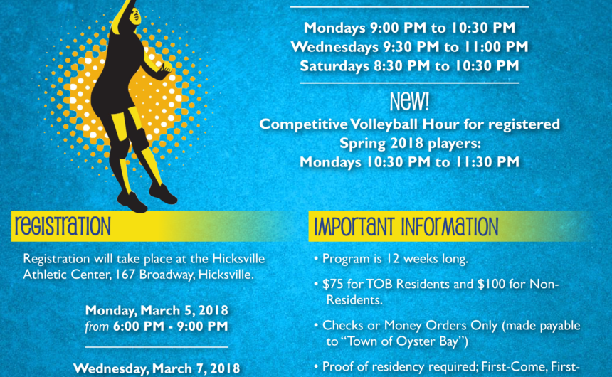 Alesia Announces Registration for Spring Co-Ed Volleyball