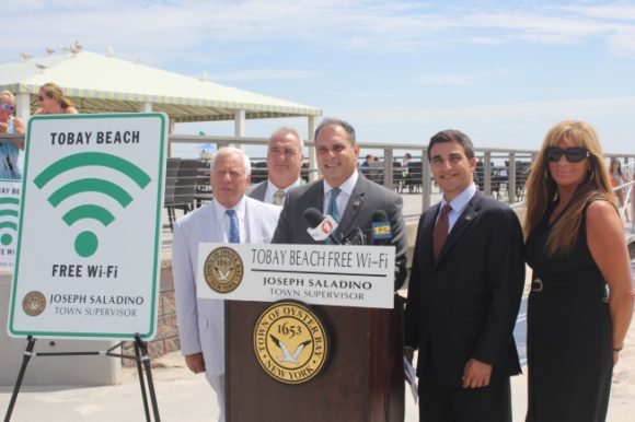 Saladino and Imbroto launch free public WI-FI Network at TOBAY Beach