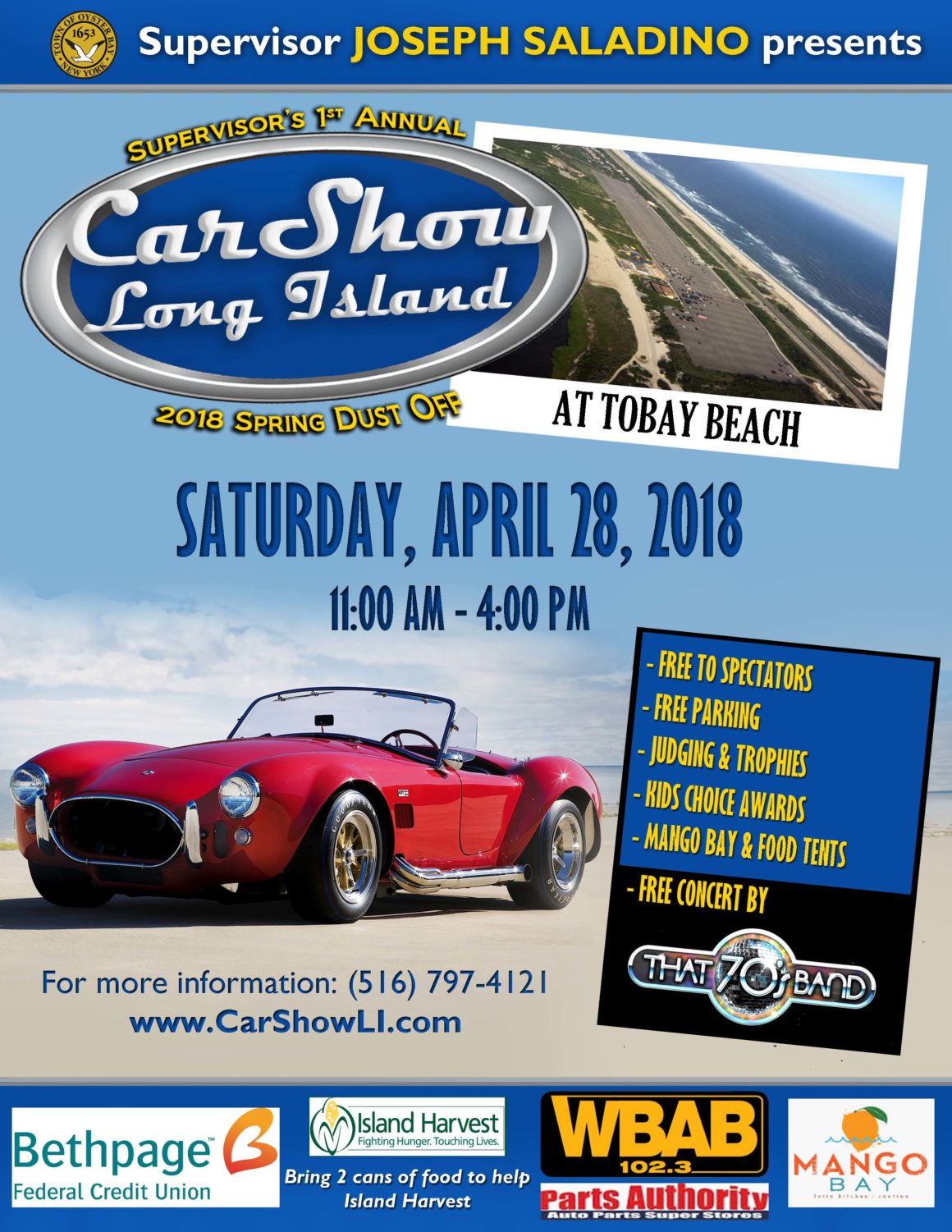 "Saladino Announces ""Car Show Long Island"" Spring Dust Off at TOBAY Beach on April 28th"