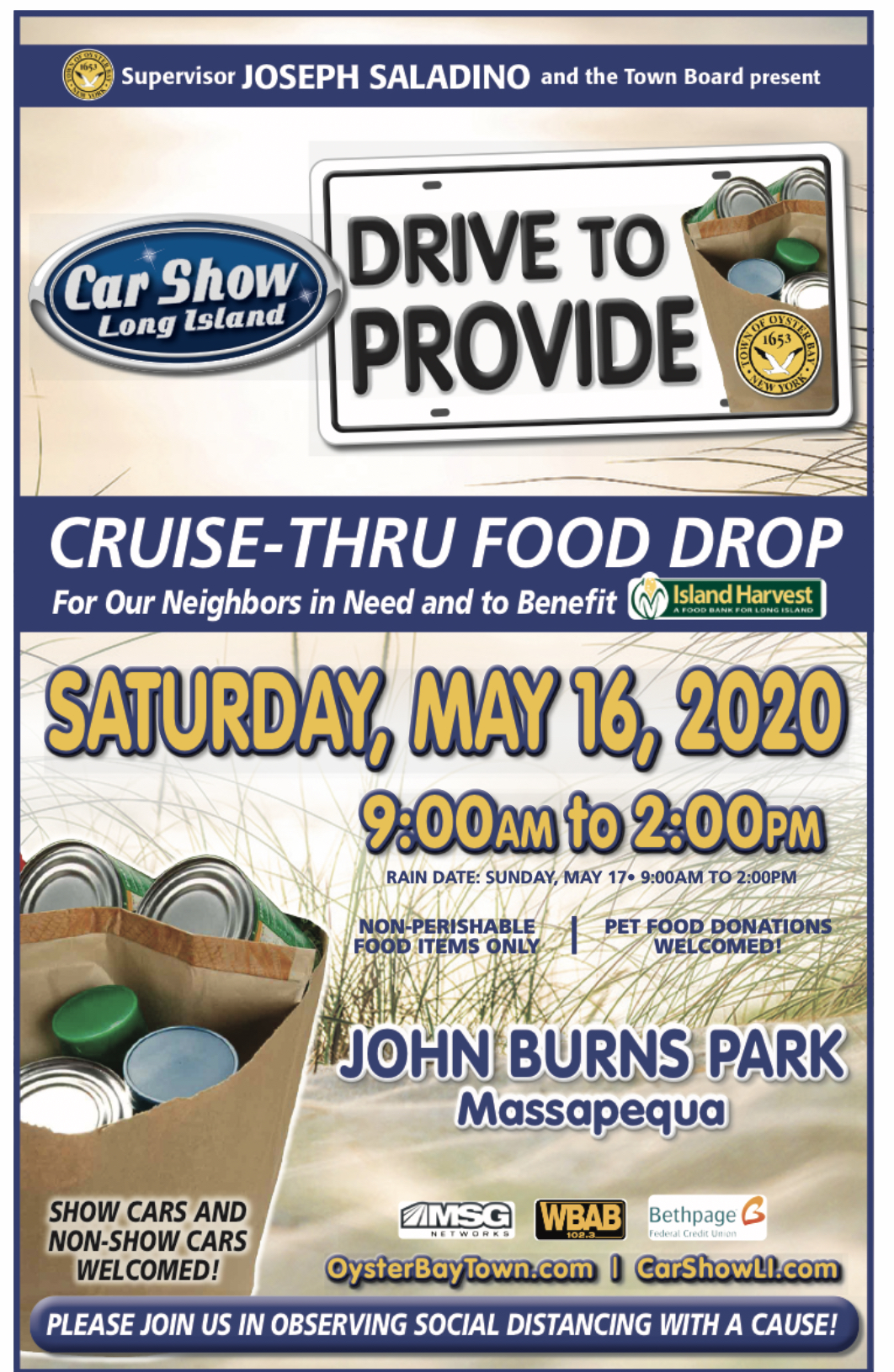 Saladino Announces Cruise Thru Food Drop Collection Drive for May 16th