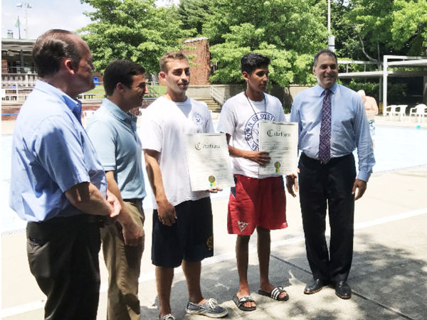 Supervisor Saladino recognizes Hero Lifeguards at Syosset-Woodbury Community Park Pool